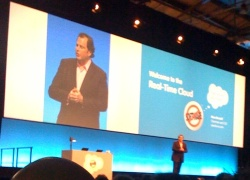 Photo of Marc Benioff giving his keynote speech at Cloudforce